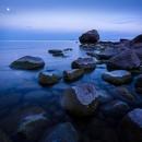 Sea at dusk with full moon, Varlaxludden, 2017