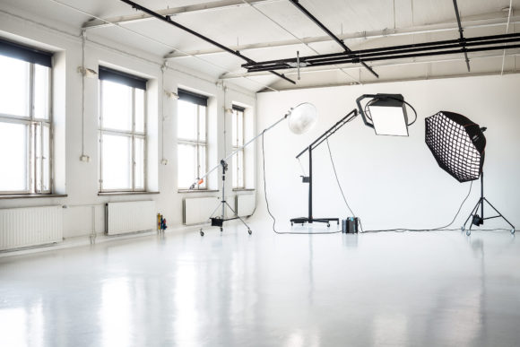 Interior of the Suvilahti studio with Broncolor lighting gear